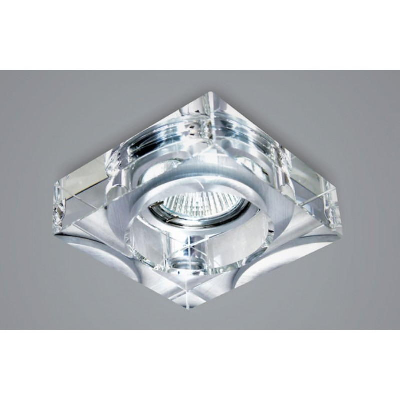 Spot Semi-Embutido Quadrado em Cristal Translúcido 1x Dicróica SD4000Q  Stella Design
