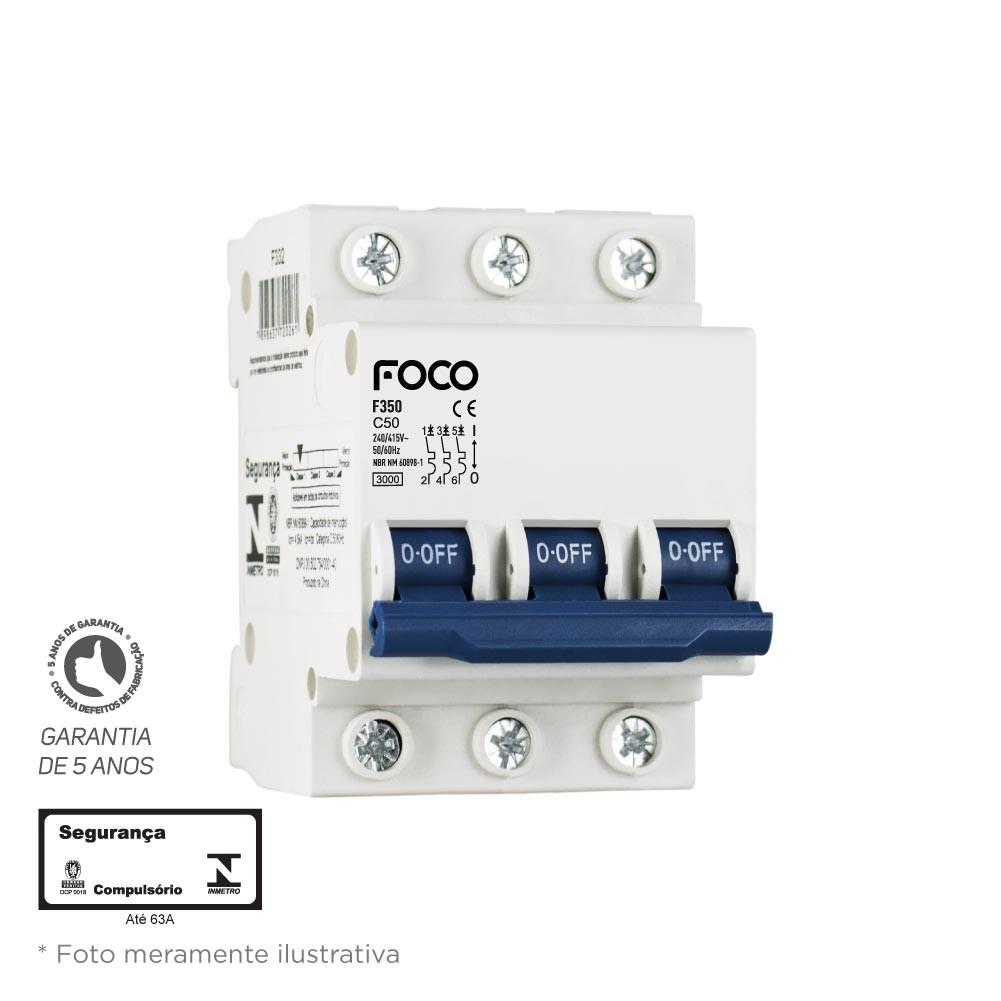 Disjuntor Din Tripolar Foco 3X80A Mini 3KA FD380