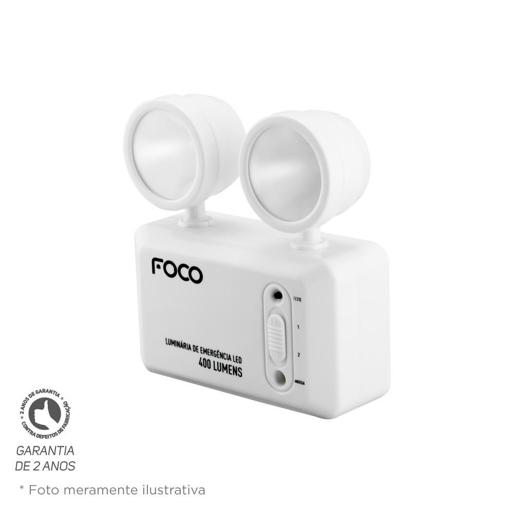 Luminária de Emergência Foco Fle400 Bloco Autônomo Bivolt