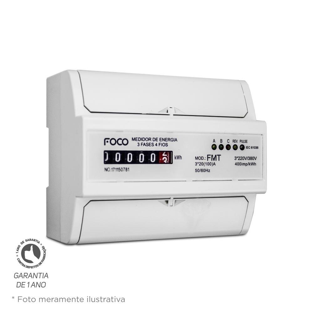 Medidor de Consumo Trifásico Foco 220V 100A