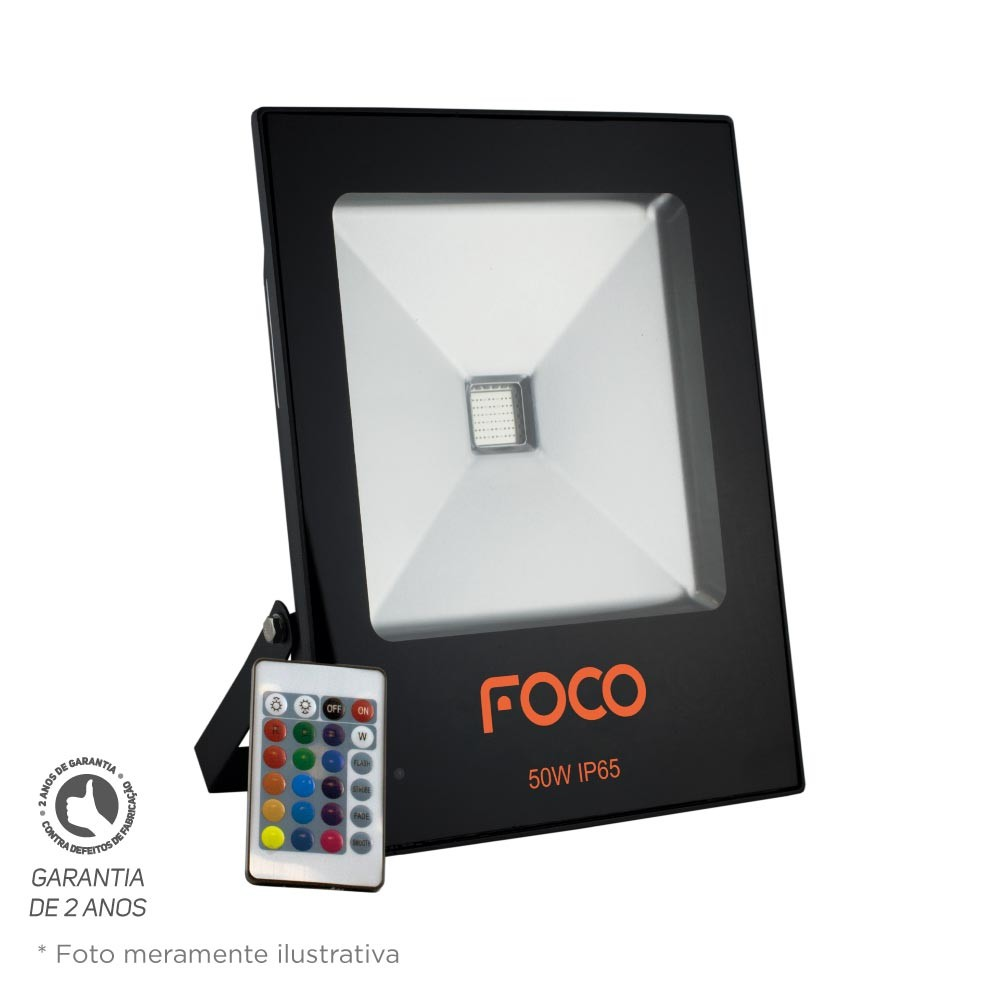 Refletor Led 50W RGB Bivolt Foco