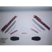 Faixa Cbx 250 Twister 03 - Moto Cor Vermelha - Kit 553