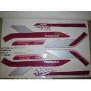 Faixa Cg 125 Today 92 - Moto Cor Vermelha - Kit 33