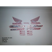 Faixa Cg 150 Titan 05 - Moto Cor Vermelha - Kit 634