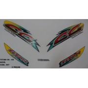 Faixas Cg 125 Titan 99/00 - Moto Cor Azul - Kit 397