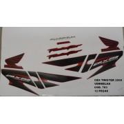 Kit De Adesivos Cbx 250 Twister 08 - Moto Cor Vermelha - 783