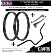 Manetes Cg 160 Start +aros Aluminio Preto Brilho+guidao Alum