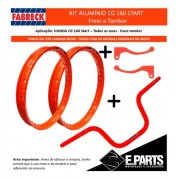 Par Aro Aluminio Cg 160 Start + Guidao +manetes Laranja Neon