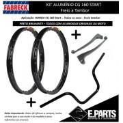 Par Aro Aluminio Cg 160 Start + Guidao +manetes Preto Brilho