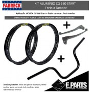Par Aro Aluminio Cg 160 Start + Guidao +manetes Preto Fosco