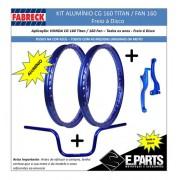 Par Aro Aluminio Cg 160 Titan/fan +guidao+manetes Disco Azul