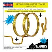 Par Aro Aluminio Cg 160 Titan/fan + Guidao +manetes Dourado