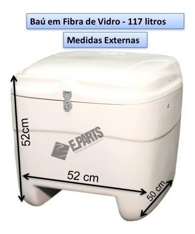 Caixa Fibra Para Moto 117 Lts Branco Carga E Entrega