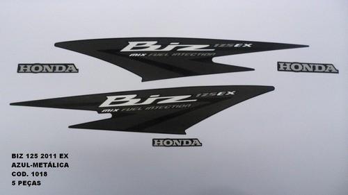 Faixa Biz 125 Ex 11 - Moto Cor Azul Met(1018-kit Adesivos)