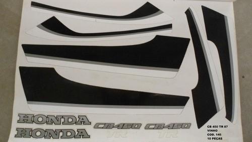 Faixa Cb 450 Tr 87 - Moto Cor Vinho (145 - Kit Adesivos)
