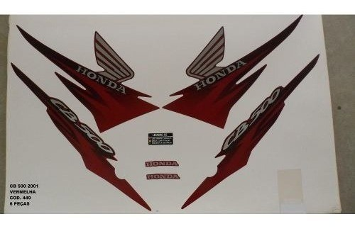 Faixa Cb 500 01 - Moto Cor Vermelha (449 - Kit Adesivos)