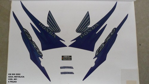 Faixa Cb 500 02 - Moto Cor Azul Metalico - Kit 491