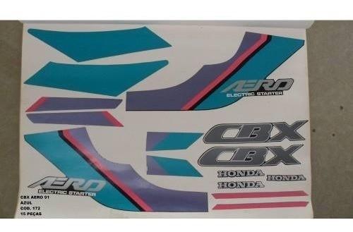 Faixa Cbx 150 Aero 91 - Moto Cor Azul (172 - Kit Adesivos)
