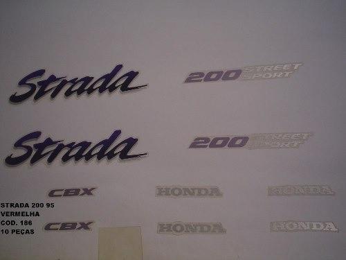 Faixa Cbx 200 Strada 95 - Moto Cor Vermelha - Kit 186