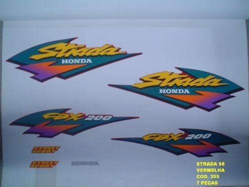 Faixa Cbx 200 Strada 98 - Moto Cor Vermelha - Kit 355