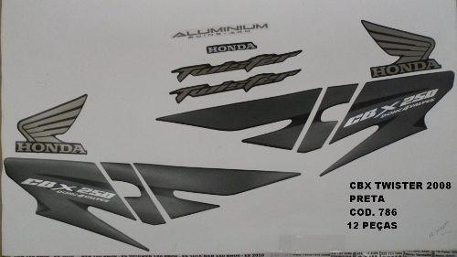 Faixa Cbx 250 Twister 08 - Moto Cor Preta - Kit 786
