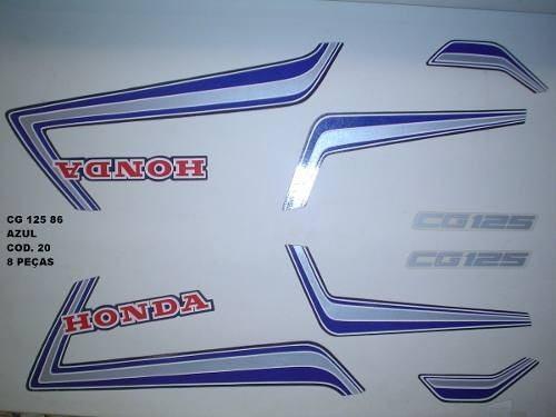 Faixa Cg 125 86 - Moto Cor Azul (20 - Kit Adesivos)
