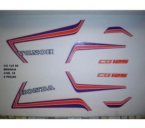 Faixa Cg 125 86 - Moto Cor Branca - Kit 18