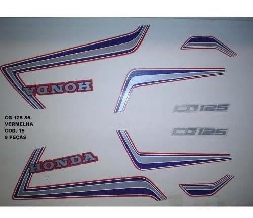 Faixa Cg 125 86 - Moto Cor Vermelha - Kit 19