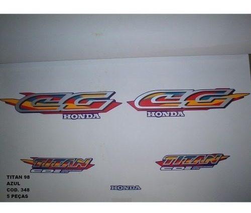 Faixa Cg 125 Titan 98 - Moto Cor Azul (348 - Kit Adesivos)