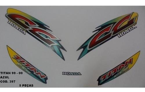 Faixa Cg 125 Titan 99/00 - Moto Cor Azul - Kit 397