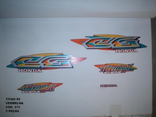 Faixa Cg 125 Titan 99 - Moto Cor Vermelha - Kit 373