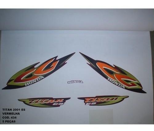 Faixa Cg 125 Titan Es 01 - Moto Cor Vermelha - Kit 434