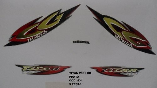 Faixa Cg 125 Titan Ks 01 - Moto Cor Prata - Kit 431