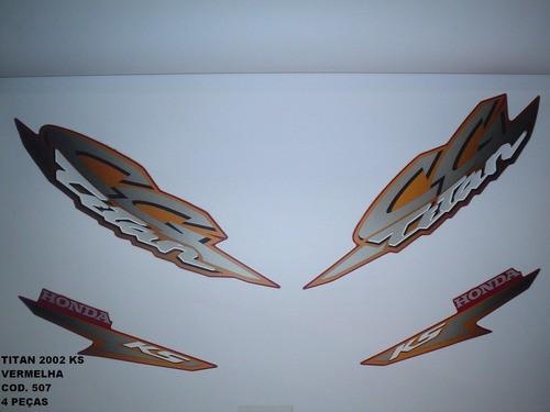Faixa Cg 125 Titan Ks 02 - Moto Cor Vermelha - Kit 507