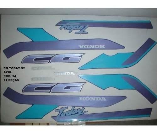 Faixa Cg 125 Today 92 - Moto Cor Azul (34 - Kit Adesivos)