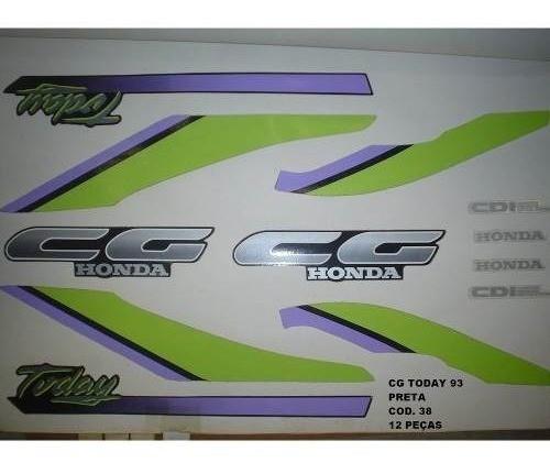 Faixa Cg 125 Today 93 - Moto Cor Preta (38 - Kit Adesivos)