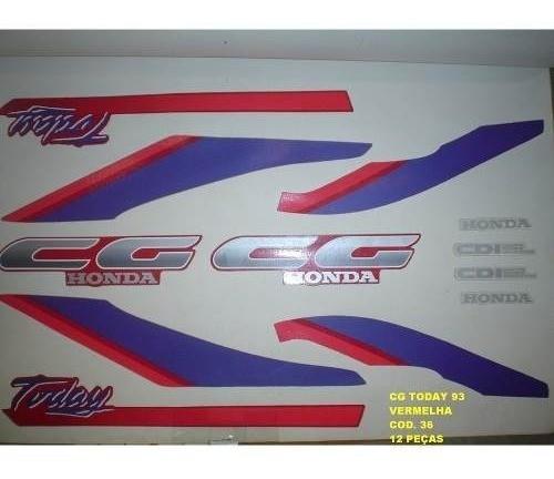 Faixa Cg 125 Today 93 - Moto Cor Vermelha - Kit 36