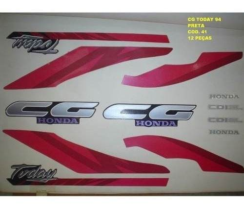 Faixa Cg 125 Today 94 - Moto Cor Preta (41 - Kit Adesivos)
