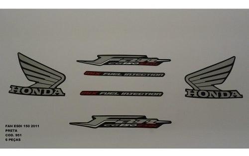 Faixa Cg 150 Fan Esdi 11 - Moto Cor Preta - Kit 951