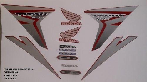 Faixa Cg 150 Titan Esd / Ex 14 - Moto Cor Verm - Kit 1138