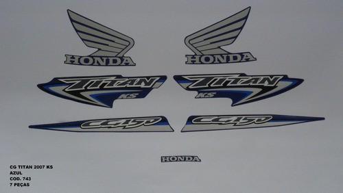 Faixa Cg 150 Titan Ks 07 - Moto Cor Azul - Kit 743