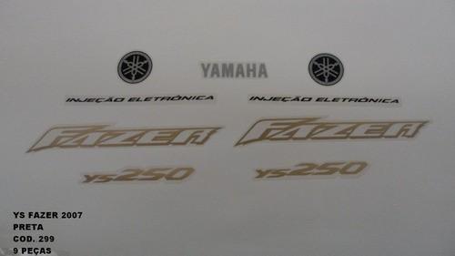 Faixa Fazer 250 07 - Moto Cor Preta (299 - Kit Adesivos)