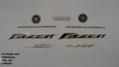 Faixa Fazer 250 07 - Moto Cor Vermelha (297 - Kit Adesivos)