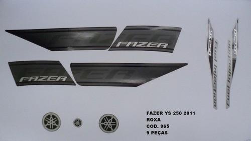 Faixa Fazer 250 11 - Moto Cor Roxa (965 - Kit Adesivos)