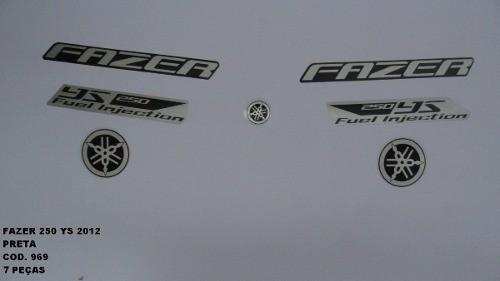 Faixa Fazer 250 12 - Moto Cor Preta (969 - Kit Adesivos)