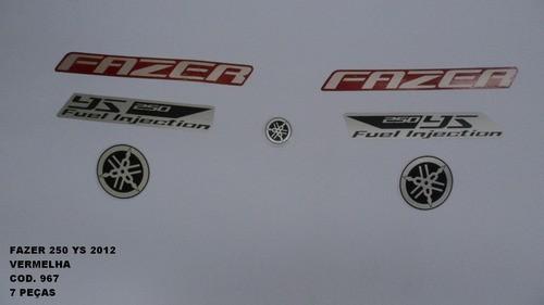 Faixa Fazer 250 12 - Moto Cor Vermelha (967 - Kit Adesivos)