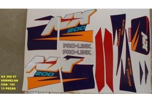 Faixa Nx 200 97 - Moto Cor Vermelha (182 - Kit Adesivos)