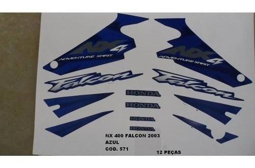 Faixa Nx 400 Falcon 03 - Moto Cor Azul (571 - Kit Adesivos)