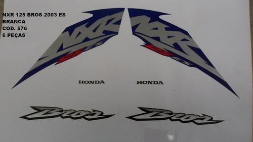 Faixa Nxr 125 Bros Es 03 - Moto Cor Branca - Kit 576