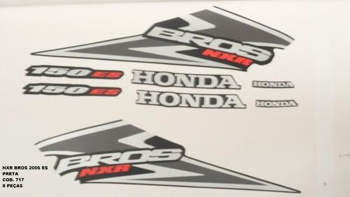 Faixa Nxr 150 Bros Es 06 - Moto Cor Preta - Kit 717